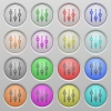 Vertical adjustment plastic sunk buttons - Set of vertical adjustment plastic sunk spherical buttons on light gray background. 16 variations included. Well-organized layer, color swatch and graphic style structure. Easy to recolor.