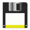 Floppy disk - Floppy disk vector with yellow vignette on white background. Arranged layer structure