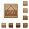 Set of carved wooden close sign buttons. 8 variations included. Arranged layer structure. - Close sign wooden buttons