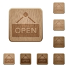 Open sign wooden buttons - Set of carved wooden open sign buttons. 8 variations included. Arranged layer structure.