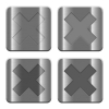 Metal Cancel buttons - Set of Cancel buttons vector in brushed metal style. Arranged layer, color and graphic style structure.