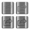 Metal Export buttons - Set of Export buttons vector in brushed metal style. Arranged layer, color and graphic style structure.