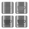 Metal Coffee buttons - Set of Coffee buttons vector in brushed metal style. Arranged layer, color and graphic style structure.