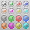 Price cut plastic sunk buttons - Set of price cut camera plastic sunk spherical buttons on light gray background. 16 variations included. Well-organized layer, color swatch and graphic style structure. Easy to recolor.
