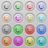 Full day service plastic sunk buttons - Set of 24h service plastic sunk spherical buttons on light gray background. 16 variations included. Well-organized layer, color swatch and graphic style structure. Easy to recolor.