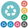 Flat recycling icons - Flat recycling icon set on round color background. 8 color variations included with light teme.