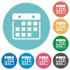 Flat hanging calendar icons - Flat hanging calendar icon set on round color background. 8 color variations included with light teme.