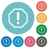 Flat error icons - Flat error icon set on round color background. 8 color variations included with light teme.