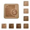 Money report wooden buttons - Set of carved wooden money report buttons. 8 variations included. Arranged layer structure.