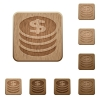 Dollar coins wooden buttons - Set of carved wooden dollar coins buttons. 8 variations included. Arranged layer structure.
