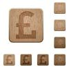 Pound sign wooden buttons - Set of carved wooden pound sign buttons. 8 variations included. Arranged layer structure.