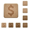 Dollar sign wooden buttons - Set of carved wooden dollar sign buttons. 8 variations included. Arranged layer structure.