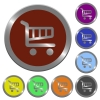 Color shopping cart buttons - Set of glossy coin-like color shopping cart buttons. Arranged layer structure.