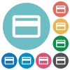 Flat credit card icons - Flat credit card icon set on round color background. 8 color variations included with light teme.