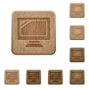 Monitor wooden buttons - Set of carved wooden monitor buttons. 8 variations included. Arranged layer structure.