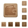 Wallet wooden buttons - Set of carved wooden wallet buttons. 8 variations included. Arranged layer structure.