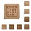 Hanging calendar wooden buttons - Set of carved wooden hanging calendar buttons. 8 variations included. Arranged layer structure.