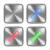 Color magic wand icons engraved in glossy steel push buttons. Well organized layer structure, color swatches and graphic styles. - Color magic wand steel buttons