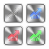 Color rising graph icons engraved in glossy steel push buttons. Well organized layer structure, color swatches and graphic styles. - Color rising graph steel buttons