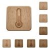 Thermometer wooden buttons - Set of carved wooden thermometer buttons. 8 variations included. Arranged layer structure.