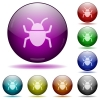 Set of color computer bug glass sphere buttons with shadows. Arranged layer structure. - Computer bug glass sphere buttons