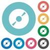 Flat DVD icons - Flat DVD icon set on round color background. 8 color variations included with light teme.