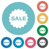 Flat sale badge icons - Flat sale badge icon set on round color background. 8 color variations included with light teme.