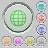 Globe push buttons - Set of globe sunk push buttons. Well-organized layer, color swatch and graphic style structure. Easy to recolor.