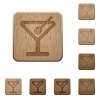 Cocktail wooden buttons - Set of carved wooden Cocktail buttons. 8 variations included. Arranged layer structure.
