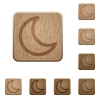 Moon wooden buttons - Set of carved wooden moon buttons. 8 variations included. Arranged layer structure.