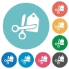 Flat price cut icons - Flat price cut icon set on round color background. 8 color variations included with light teme.