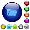 Color folder open glass buttons - Set of color folder open glass web buttons. Arranged layer structure.