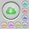 Cloud download push buttons - Set of cloud download sunk push buttons. Well-organized layer, color swatch and graphic style structure. Easy to recolor.
