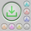 Download push buttons - Set of download sunk push buttons. Well-organized layer, color swatch and graphic style structure. Easy to recolor.