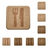 Cutlery wooden buttons - Set of carved wooden cutlery buttons. 8 variations included. Arranged layer structure.