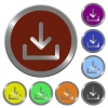 Color download buttons - Set of glossy coin-like color download buttons. Arranged layer structure.
