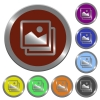 Set of glossy coin-like color images buttons. Arranged layer structure. - Color images buttons
