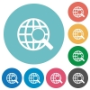 Flat web search icons - Flat web search icon set on round color background. 8 color variations included with light teme.