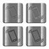 Metal ringing phone buttons - Set of ringing phone buttons vector in brushed metal style. Arranged layer, color and graphic style structure.