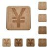 Yen sign wooden buttons - Set of carved wooden yen sign buttons. 8 variations included. Arranged layer structure.