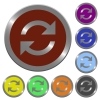 Color refresh buttons - Set of glossy coin-like color refresh buttons. Arranged layer structure.