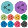 Color share flat icons - Color share flat icon set on round background. 10 variations included.