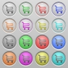 Shopping cart plastic sunk buttons - Set of shopping cart plastic sunk spherical buttons. 16 variations included. Well-organized layer, color swatch and graphic style structure.