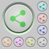 Share push buttons - Set of share sunk push buttons. Well-organized layer, color swatch and graphic style structure. Easy to recolor.