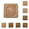 Documents wooden buttons - Set of carved wooden documents buttons. 8 variations included. Arranged layer structure.