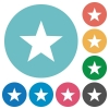 Flat favorite icons - Flat favorite icon set on round color background. 8 color variations included with light teme.