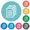 Flat documents icons - Flat documents icon set on round color background. 8 color variations included with light teme.