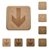 Set of carved wooden down arrow buttons in 8 variations. - Down arrow wooden buttons