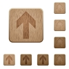 Up arrow wooden buttons - Set of carved wooden up arrow buttons in 8 variations.