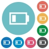 Flat low battery icons - Flat low battery icon set on round color background. 8 color variations included with light teme.